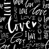 LOVE seamless chalk background. Modern brush calligraphy. Stock Image