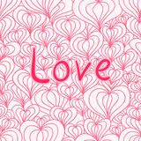 Love seamless with hearts. Eps 10 vector seamless pattern with the Love  inscription and stylized hearts for yoyr Valentine design Royalty Free Stock Photography