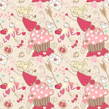 Love, seamless pattern. Seamless pattern with cupcake, heart, bow and a Fairy Stock Images