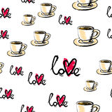 Love seamless pattern. Abstract background with cup and heart. Royalty Free Stock Image