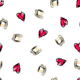 Love seamless pattern. Abstract background with cup and heart. Love tea seamless pattern. Abstract background with tea cup and heart. Vector illustration Royalty Free Stock Photography