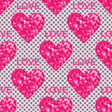 Love seamless pattern, background with hearts and text. Pop-art style Royalty Free Stock Image