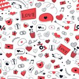 Love seamless pattern with black and red icons for valentine day or wedding in doodle style, love you lettering