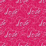 Love seamless pattern. Doodle ornamental calligraphic vignette b Royalty Free Stock Photos