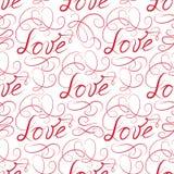 Love seamless pattern. Doodle ornamental calligraphic vignette b Stock Image