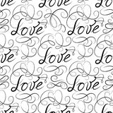 Love seamless pattern. Doodle ornamental calligraphic vignette texture Royalty Free Stock Photo