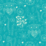 Love seamless pattern with flowers, post letters, hearts and owls. Love mail. Owl texture. Flowers  illustration. Stock Images