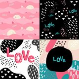 Love seamless pattern with hearts and whales vector illustration