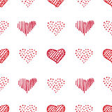 Love seamless pattern romantic doodle hearts Stock Image