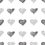 Love seamless pattern romantic doodle hearts Stock Images