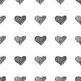 Love seamless pattern romantic doodle hearts Royalty Free Stock Image