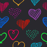 Love seamless pattern with romantic unique doodle hearts. Stock Image