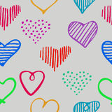 Love seamless pattern with romantic unique doodle hearts. Royalty Free Stock Photography