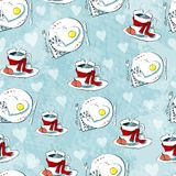 Love seamless pattern of teacups and heart cookies Stock Photos