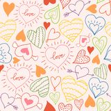 Seamless pattern with hearts. Freehand drawing. Can be used on packaging paper, fabric, background for different images stock illustration