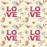 Love seamless texture with flowers and birds Royalty Free Stock Photography