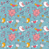 Love seamless texture with flowers and birds Royalty Free Stock Photo