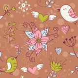 Love seamless texture with flowers and birds Royalty Free Stock Image