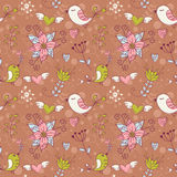 Love seamless texture with flowers and birds Stock Photo