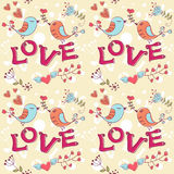 Love seamless texture with flowers and birds Royalty Free Stock Images