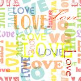 Love seamless typographic pattern. Fictional artwork, vector illustration royalty free illustration