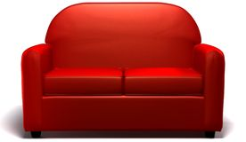 Love seat. Red double seated sofa on white background vector illustration