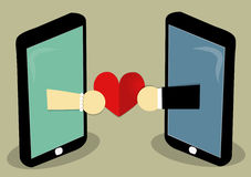 Love send online. Two mobile with two hand of man and woman that carry heart of love Royalty Free Stock Photo