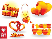 Love set. Shiny love set. I LOVE YOU Royalty Free Stock Photo