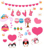 Love Set. Collection of cute valentines day elements Royalty Free Stock Photo