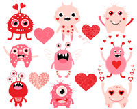 Love set of cute Valentines Day monsters royalty free illustration
