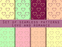 Love. Set of seamless patterns with hearts. Valentine's Day. Rom. Love. Set of seamless patterns with hearts. Romantic patterns. Abstract backgrounds. Vector Royalty Free Stock Photo