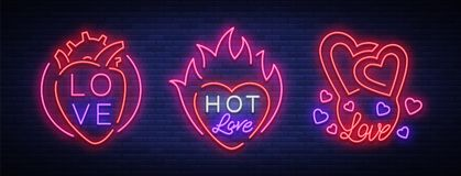 Love is a set of symbols. Collection of neon signs on the theme of Valentine s Day. Flaming banner for greetings. Leaflet, flyer. Bright night neon Stock Photography