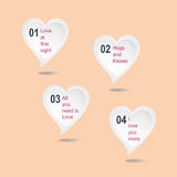 Love. A set of vector abstract speech bubbles in heart shaped for Valentine infographic elements and text with white color and pink background Stock Images