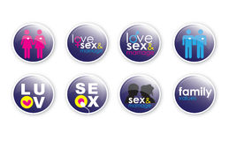 Love and Sex Buttons 2 Stock Photography