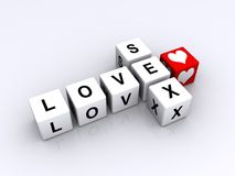 Love sex sign. 3d illustration of abstract sign in shape of crossword spelling love sea with red heart, white background Stock Photos