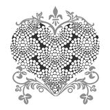Love shape. With flora pattern Stock Image