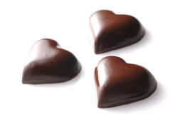 Love shape chocolate. On white background Stock Photo