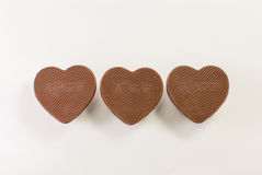 Love shape chocolate. On white background royalty free stock photography