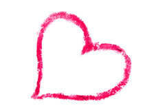 Love shape drawn with lipstick Royalty Free Stock Images