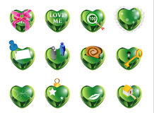 Love shape green1. Crystal love shape illustrate different kind of love Stock Photography