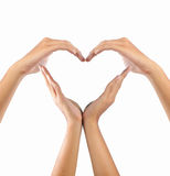 Love shape by hands stock photos