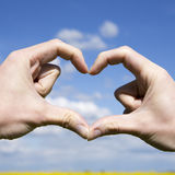 Love shape hands - heart on yellow field and blue sky Royalty Free Stock Photo