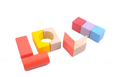 Love shape made from Wooden block Royalty Free Stock Photography