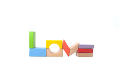 Love shape made from Wooden block Stock Photo