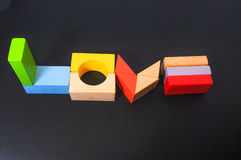 Love shape made from Wooden block Stock Image