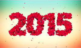 2015 Love Shape Particles 3D colorful background. Digital art Stock Illustration