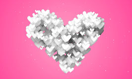 Love Shape Particles pink background Stock Images