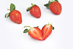 Love shape strawberry Royalty Free Stock Image