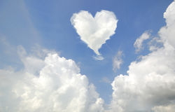Love shaped cloud. Cloud in love shape with blue sky Stock Images