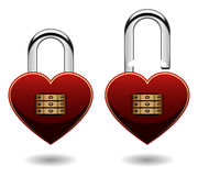 Love Shaped Combination Pad Lock in Vector Royalty Free Stock Photography